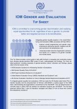 IOM Gender and Evaluation Tip Sheet